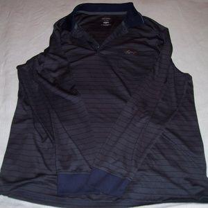 Greg Norman Gray-Navy Stripe L-sleeve Golf Shirt L